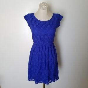Bright Blue Short Sleeve Lace Dress size Small